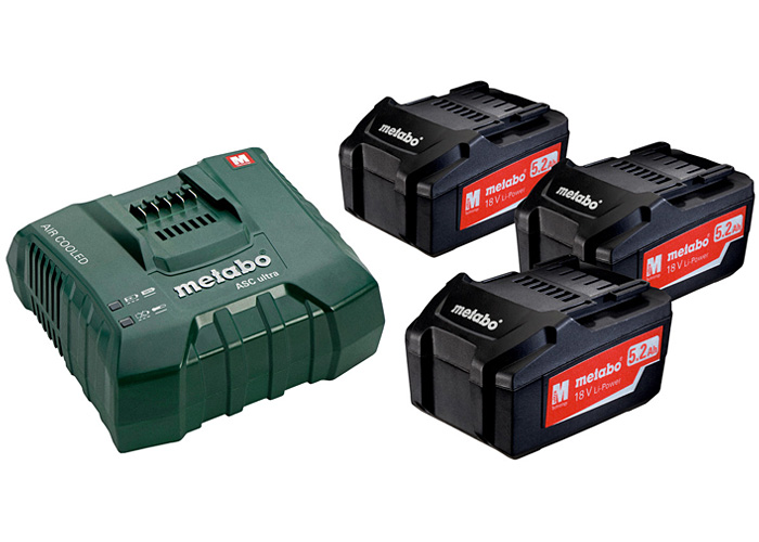 Базовый комплект METABO 3 X Li-Ion 5,2 Ач + ASC Ultra