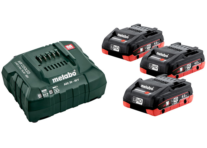 Базовый комплект METABO 3 X LiHD 4,0 Ач + ASC 30-36 В