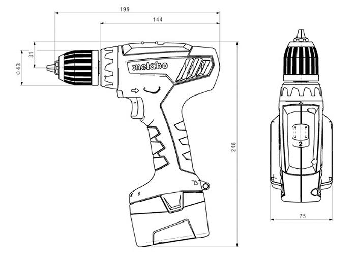 Аккумуляторный шуруповерт METABO BS 12 NICD