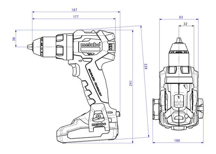 Аккумуляторный шуруповерт METABO BS 18 LT BL Set (3 x 4,0 Ач)