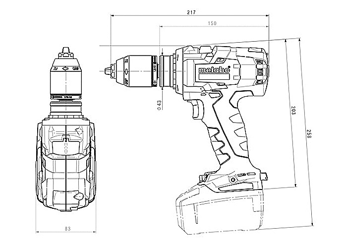 Аккумуляторный шуруповерт METABO BS 18 LTX-3 BL I Каркас + MetaLoc