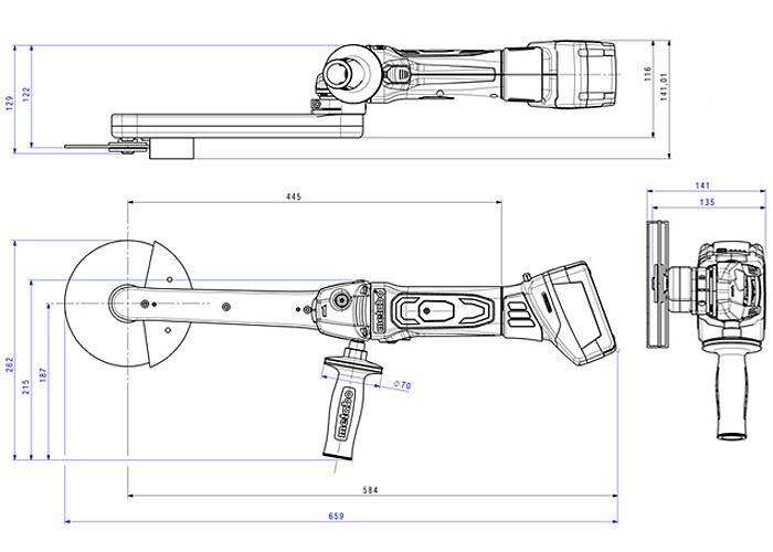Аккумуляторная шлифовальная машина для узких мест METABO KNS 18 LTX 150 Каркас
