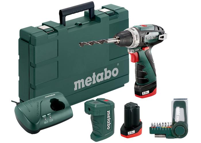 Аккумуляторный шуруповерт METABO PowerMaxx BS Basic Set + PA + набор бит SP (9 шт.)