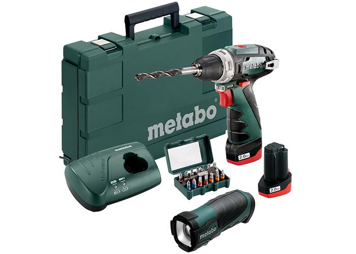 Аккумуляторный шуруповерт METABO PowerMaxx BS Basic Set + TLA LED + набор бит SP (15 шт.)