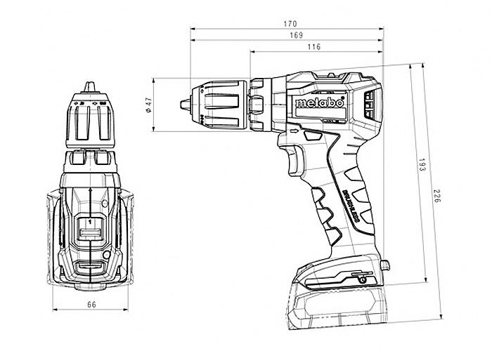Аккумуляторный шуруповерт METABO PowerMaxx SB 12 BL (2 x 4,0 Ач)