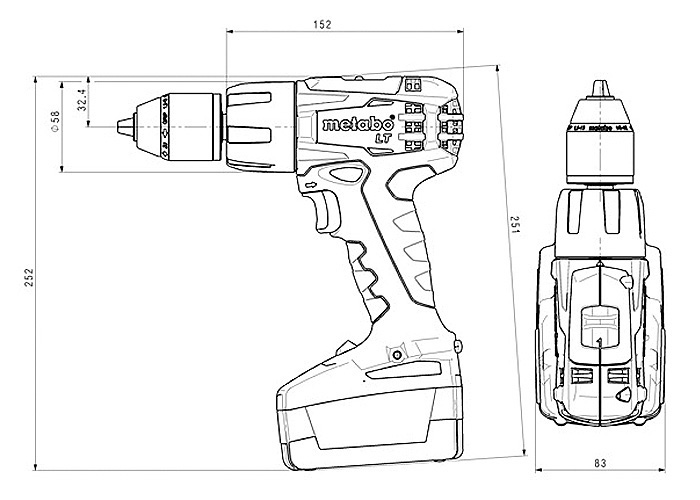 Аккумуляторный шуруповерт METABO SB 18 LT Set (3 x 4,0 Ач)