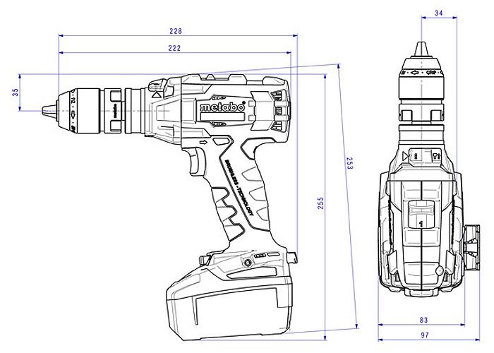 Аккумуляторный шуруповерт METABO SB 18 LTX BL Q I Каркас