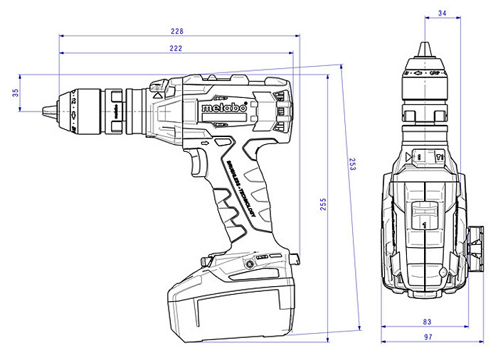 Аккумуляторный шуруповерт METABO SB 18 LTX BL Q I (4,0 Ач)