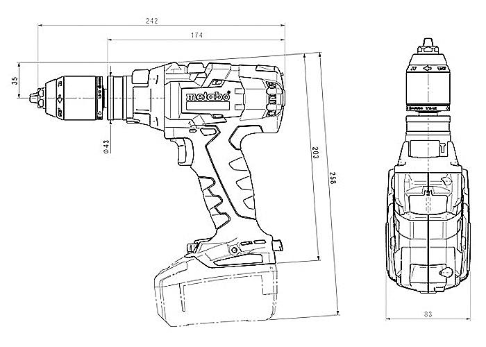 Аккумуляторный шуруповерт METABO SB 18 LTX-3 BL I Каркас + MetaLoc
