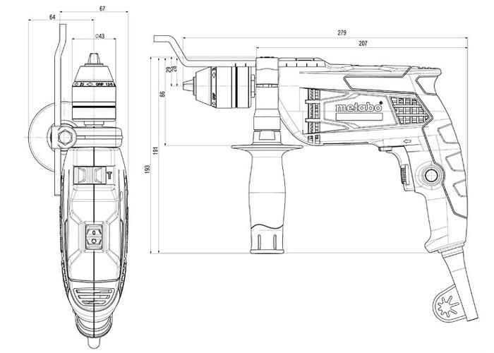Ударная дрель METABO SBE 650 Impuls + кейс