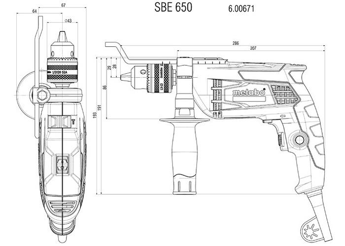 Ударная дрель METABO SBE 650 + кейс