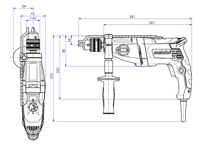 Ударная дрель METABO SBE 780-2 (БЗП Futuro Plus)