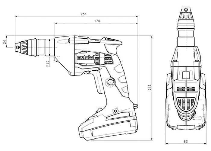 Аккумуляторный шуруповерт для гипсокартона METABO SE 18 LTX 2500 Каркас