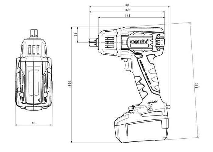 Аккумуляторный ударный гайковерт METABO SSW 18 LTX 400 BL (3,1 Ач)