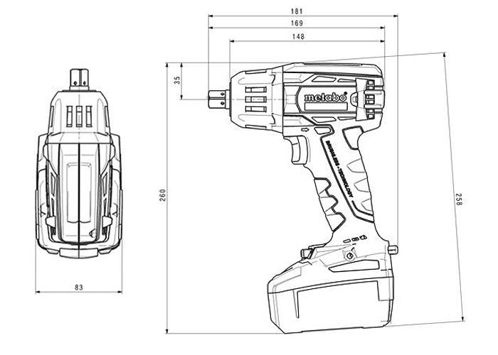 Аккумуляторный ударный гайковерт METABO SSW 18 LTX 400 BL Каркас