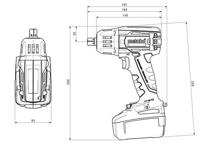 Аккумуляторный ударный гайковерт METABO SSW 18 LTX 400 BL Каркас + MetaLoc