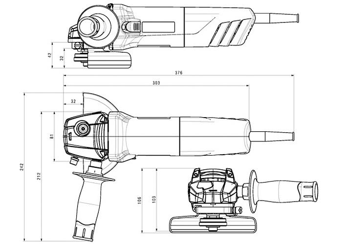 Болгарка METABO W 1100-125 (ЗПП) + кейс