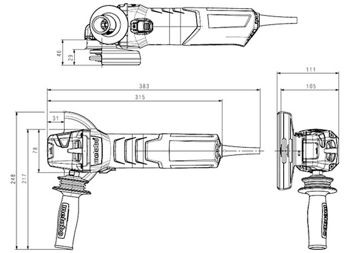 Болгарка METABO W 12-125 HD Set CED Plus