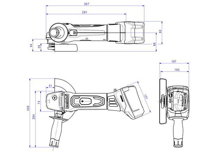 Аккумуляторная болгарка METABO W 18 LTX 150 Quick Каркас