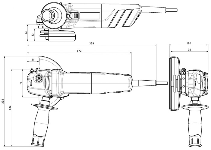 Болгарка METABO W 850-125 (ЗПП)