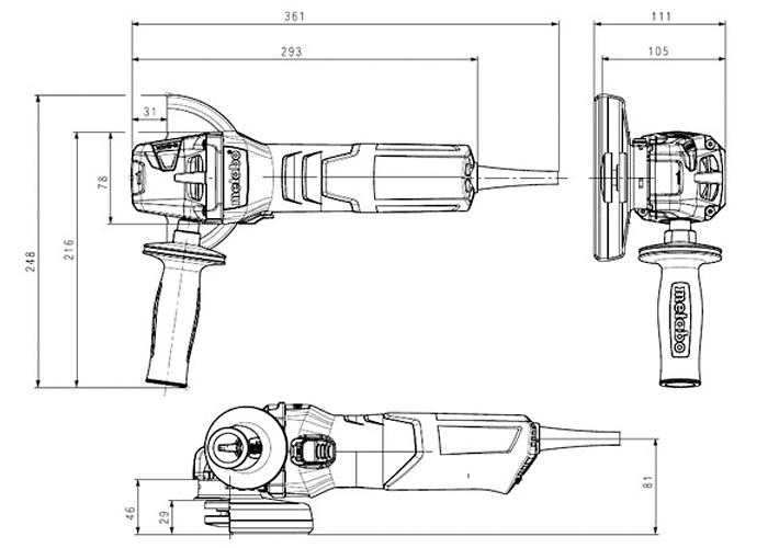 Болгарка METABO W 9-125 Quick (ЗПП) + кейс