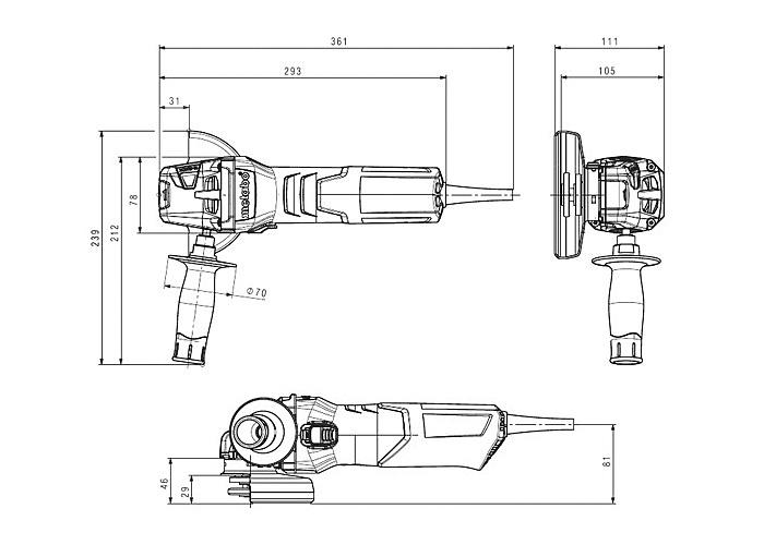 Болгарка METABO W 9-115 (ЗПП)