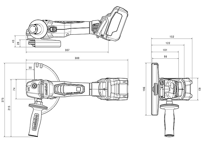 Аккумуляторная болгарка METABO WB 18 LTX BL 180