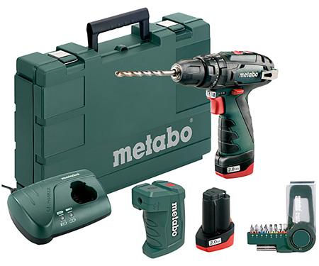 Аккумуляторный шуруповерт METABO PowerMaxx SB Basic Set + PA + набор бит SP (9 шт.)